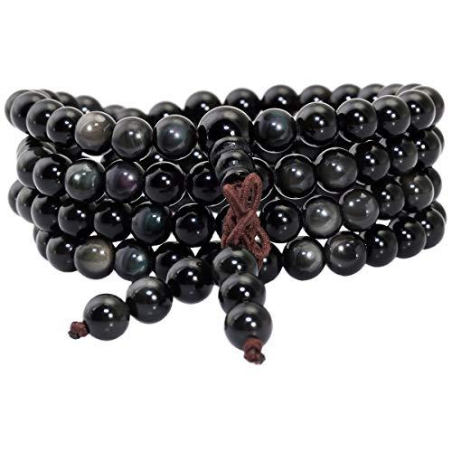 KYEYGWO 108 Gebet Mala Perlen Armband für Damen Herren, 6mm Tibetisch-buddhistischen Heilstein Halskette für Unisex, Regenbogen Obsidian