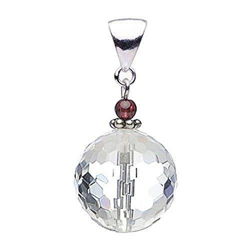 Anhänger aus echtem Bergkristall Granat & 925 Silber facettiert Halsschmuck für Damen
