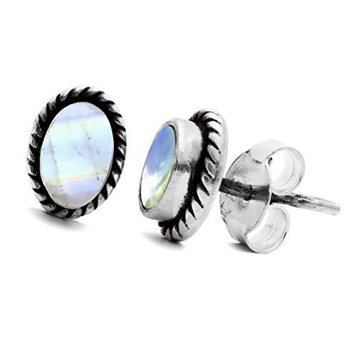 Unique Exklusive Jugendstil Ohrstecker 8.8mm Mondstein eingefasst in 925 Sterling Silber nickelfrei 2.2 Karat in Juweliers- Qualität