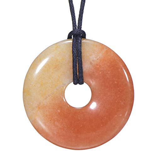 Morella Damen Halskette 80 cm Donut Edelstein Anhänger roter Aventurin im Samtbeutel