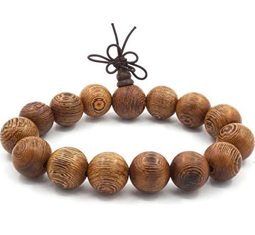 Thajaling Mala Perlen Armband tibetisch buddhistischen Buddha Gebet Meditation elastisch 15mm große Sandelholz Perlen Männer Armband