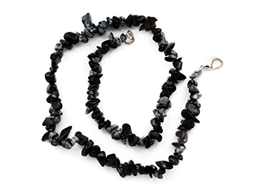 Taddart Minerals - Schwarze Splitter Halskette aus dem natürlichen Edelstein Schneeflocken-Obsidian mit 45 cm Länge - handgefertigt