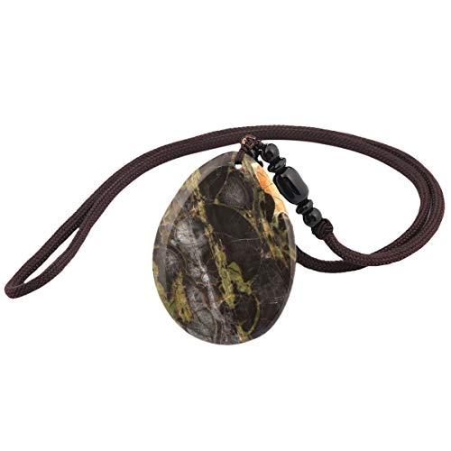 KYEYGWO Handgefertigt Natürlicher Edelstein Anhänger Halskette mit Seil 64cm, Segen Crazy Lace Achat Ketten für Damen Herren