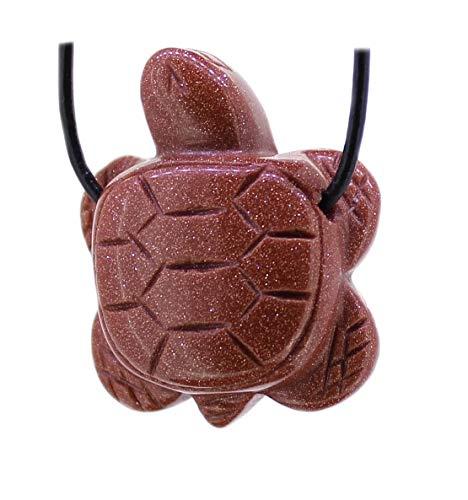 budawi® - Goldfluss Anhänger Schildkröte mit Lederband, Schildkrötenanhänger