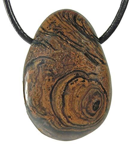 Lebensquelle Plus Stromatolith Tropfenanhänger Tropfen Anhänger Trommelstein gebohrt mit Lederband