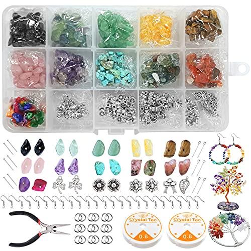 Edelsteine mit Loch,15 Farben Halbedelsteine Perlen,Natürliche Heilsteine Halbedelsteinperlen Bastelperlen Lose Perlen Energie Stein für Schmuck,Edelsteine Beads,Gemstone Chips,Edelstein Basteln