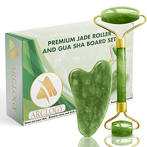 ARCLOGY Jade Roller Set, Anti-Aging Beauty Facial Therapie 100% natürliche Massagestein Face Rose Quartz, Gesicht Rosenquarz Jade Gua Sha, Jade roller, Rosental Quarzroller Gesichtmassager