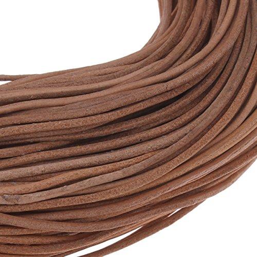 Perlin 5 Meter Lederband Rund 2mm Braun Sand Lederschnur Rindsleder Leder Schmuckband Bastelband Bastelschnur Schmuckschnur C151