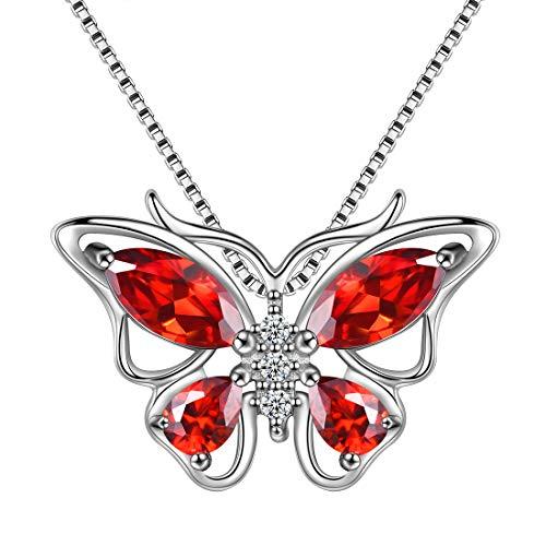 AuroraTears Schmetterling Halskette 925 Sterling Silber Januar Birthstone Red Granat Anhänger Tiere Charm Schmuck Geschenk für Frauen und Mädchen DP0215J