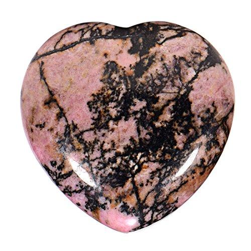 Morella Edelstein Rhodonit Herz Glücksbringer Steinherz zum Mitnehmen 3 cm in Samtbeutel