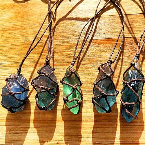 Cheerfulus Natürlicher Fluorit-Quarz-Kristall Stein,Blau-grüner Fluorit-Behandlungs-Stein, Fluorit-Verzierungs-Fluorit-Reiki Chakra-Anhänger mit Stricken zufällig